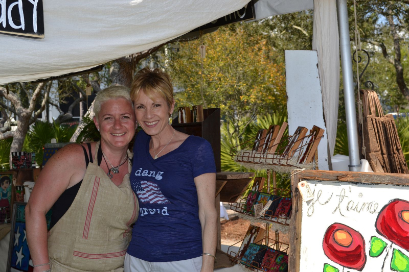 Artist, Ginger Leigh (l) with The Blue Giraffe co-owner, Debbie (r)