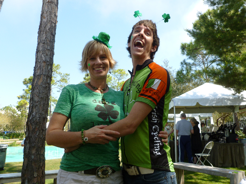 The Blue Giraffe co-owner, Christi, and Alex being silly on St. Patrick's Day!