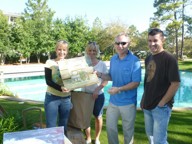 The Blue Giraffe Family (l-r): Debbie, Christi, Larry & Cliff