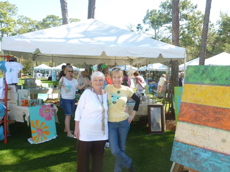 Mosaic artist, Yvonne, with Debbie