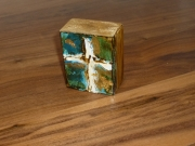 Ginger's cross on turquoise with gold leaf