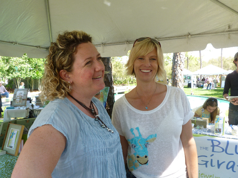 Ginger Leigh (artist) with Christi Sheffield (co-owner, The Blue Giraffe)