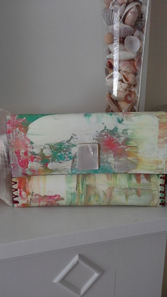 Lisa W canvas handbag ivory with pastels