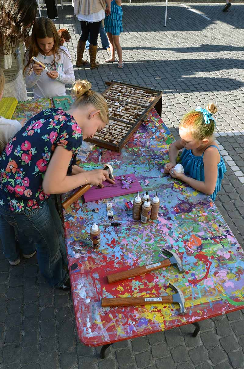 Kids Making Upcycled Art-arial view